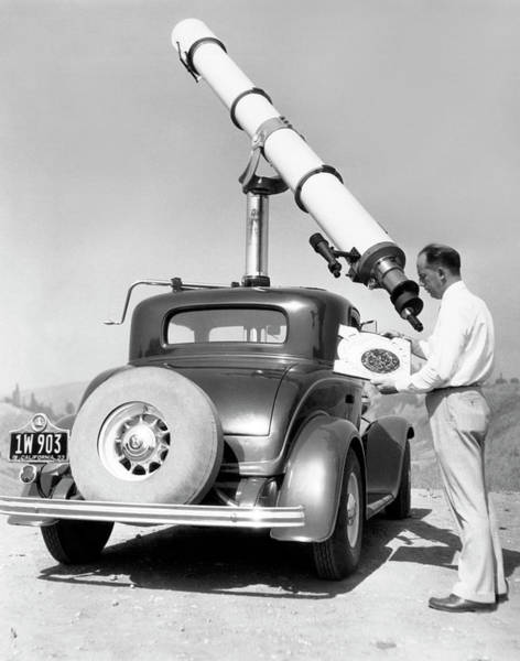 Photograph - Car Mounted Telescope by Underwood Archives