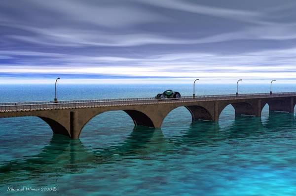 Speed Boat Digital Art - Car On Bridge by Michael Wimer