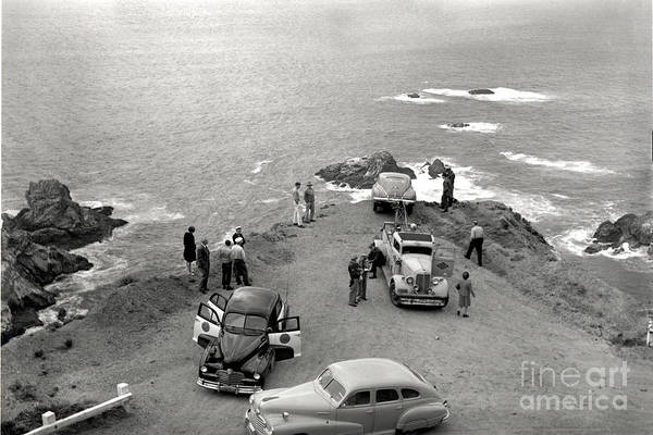 Photograph - Car Over Edge On Highway One  Big Sur  California    March 27 1947 by California Views Archives Mr Pat Hathaway Archives