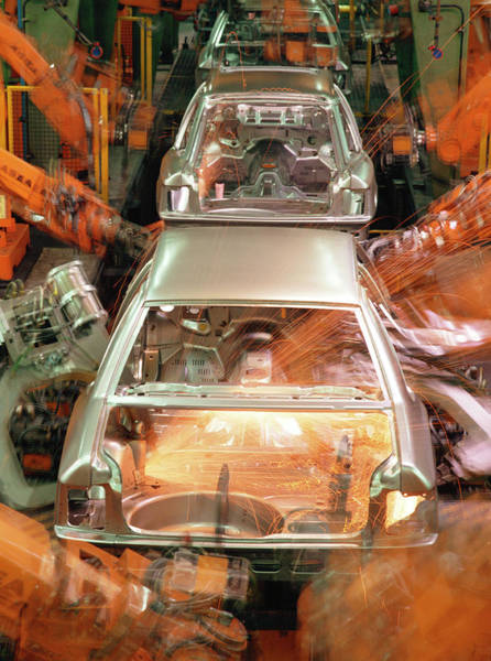 Manufacture Wall Art - Photograph - Car Production Line Robots by Maximilian Stock Ltd/science Photo Library