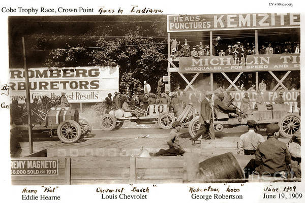 Photograph - Car Race Crown Point Indiana June 19 1909 by California Views Archives Mr Pat Hathaway Archives