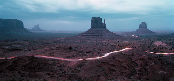 The Mitten Photograph - Car Trails By Mittens In Monument Valley by Gary Yeowell