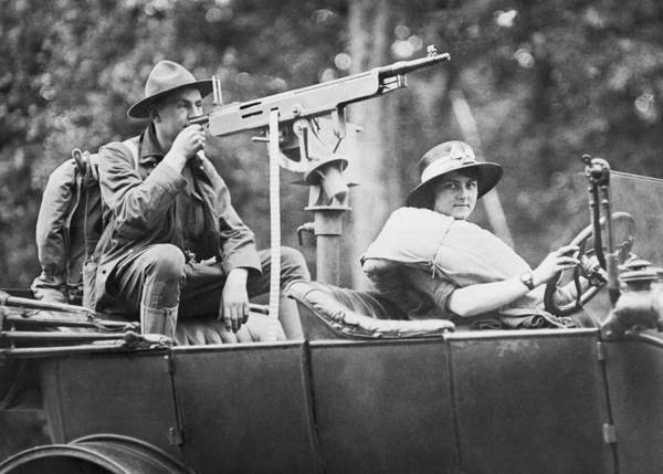Photograph - Car With Mounted Machine Gun by Underwood Archives