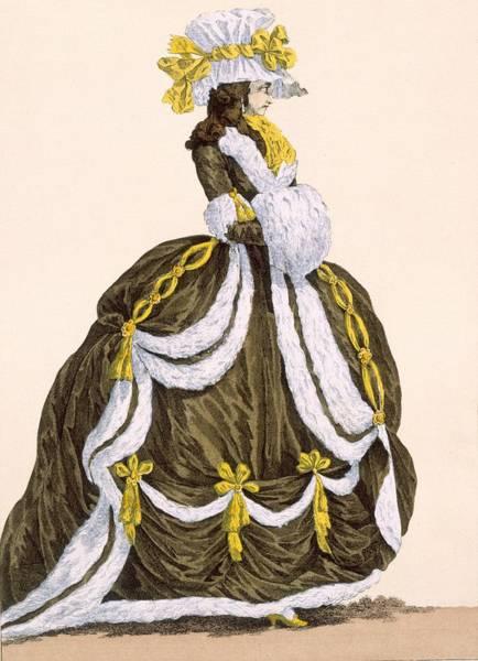 Ermine Wall Art - Drawing - Caramel Dress For Presentation by Augustin de Saint-Aubin