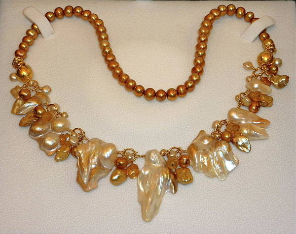 Freshwater Pearls Wall Art - Jewelry - Caramelized Pearls by Marta Eagle