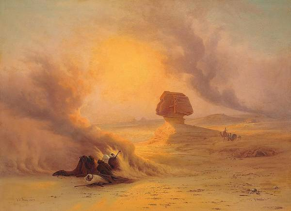 Wall Art - Painting - Caravan Caught In The Sinum Wind Near Gizah by Johann Jakob Frey