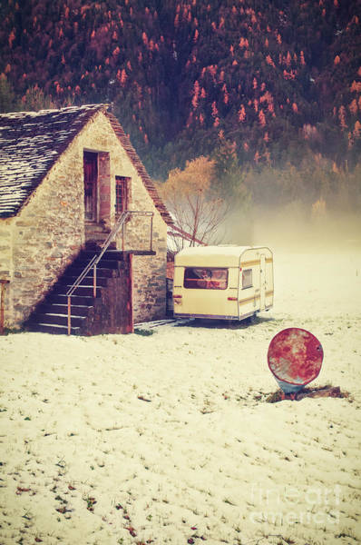 Wall Art - Photograph - Caravan In The Snow With House And Wood by Silvia Ganora