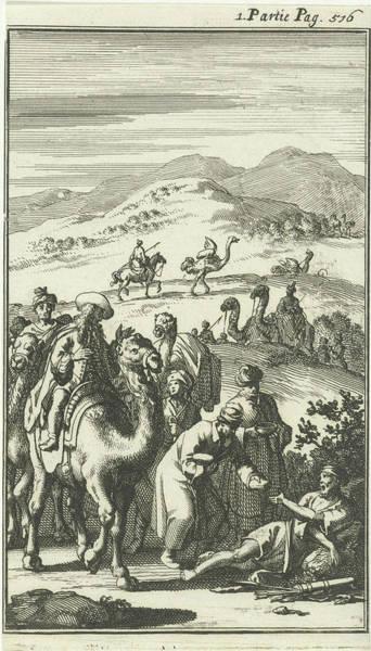 Hoof Drawing - Caravan Takes A Sick Arab, Jan Luyken, Charles Angot by Jan Luyken And Charles Angot