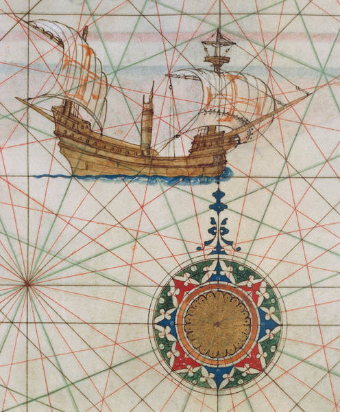 Mapping Drawing - Caravel In Ocean by Lazaro Luis