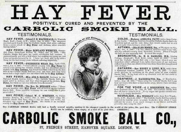 Wall Art - Drawing - Carbolic Smoke Ball,  Hay Fever by Mary Evans Picture Library