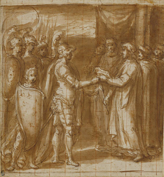 Red Cardinal Drawing - Cardinal Albornoz Gives The Farnese The Keys To Valentino by Litz Collection