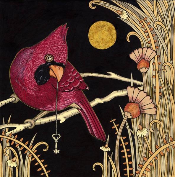 Red Cardinal Drawing - Cardinal by Anita Inverarity