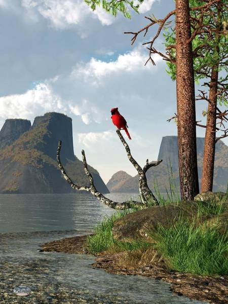 Digital Art - Cardinal By A Lake by Daniel Eskridge