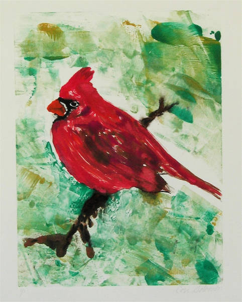 Monotype Mixed Media - Cardinal by Cori Solomon