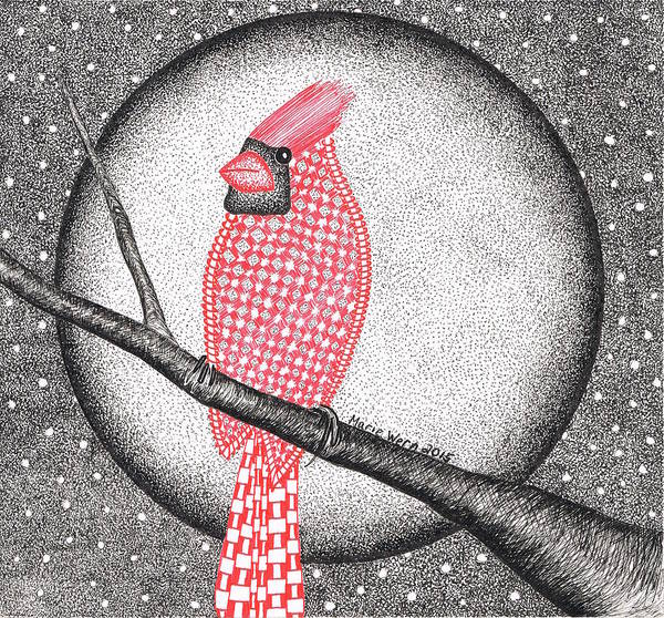 Red Cardinal Drawing - Cardinal Droid by Marie Wern