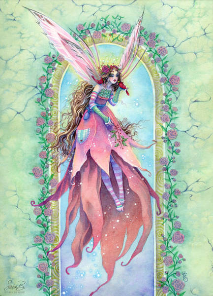 Archway Painting - Cardinal Fairy by Sara Burrier