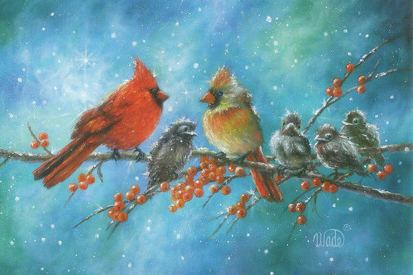 Wading Birds Wall Art - Painting - Cardinal Family 4 Babies by Vickie Wade