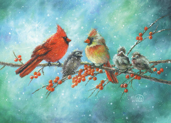 Wading Birds Wall Art - Painting - Cardinal Family by Vickie Wade