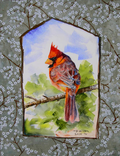 Painting - Cardinal With Jaggy Border-green by TD Wilson