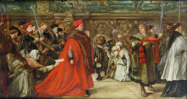 Procession Photograph - Cardinal Wolsey, Chancellor Of England, On His Progress To Westminster Hall, 1887 Wc On Paper by Sir John Gilbert