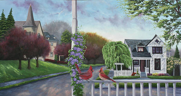 Porch Painting - Cardinals & Porch by Julie Peterson