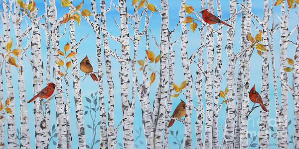 Acrylic Paints Painting - Cardinals Among The Birch-jp2061 by Jean Plout
