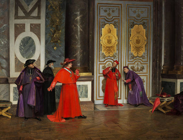 Vatican Painting - Cardinals In The Hall Of The Vatican by Henri Adolphe Laissement