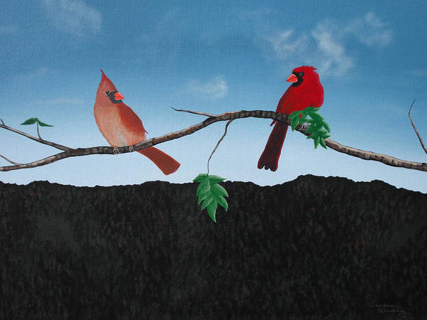 Wall Art - Painting - Cardinals No. 2 by Candace Shockley