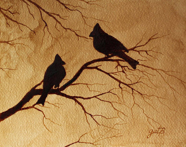 Cardinals Silhouettes Coffee Painting Art Print