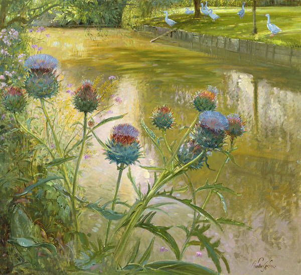 Wall Art - Painting - Cardoons Against The Moat  by Timothy Easton