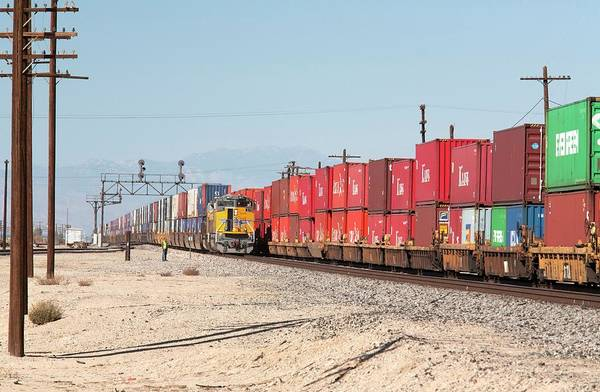 Cargo Containers Wall Art - Photograph - Cargo Container Trains by Jim West