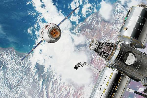 Wall Art - Photograph - Cargo Ship Approaching The Iss by Nasa/walter Myers/science Photo Library