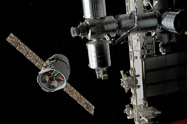International Space Station Photograph - Cargo Ship Approaching The Iss by Walter Myers/science Photo Library