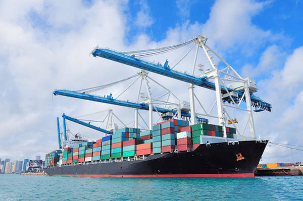 Photograph - Cargo Ship At Miami Harbor by Songquan Deng