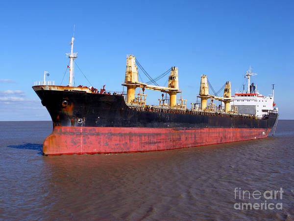 Boats Wall Art - Photograph - Cargo Ship by Olivier Le Queinec