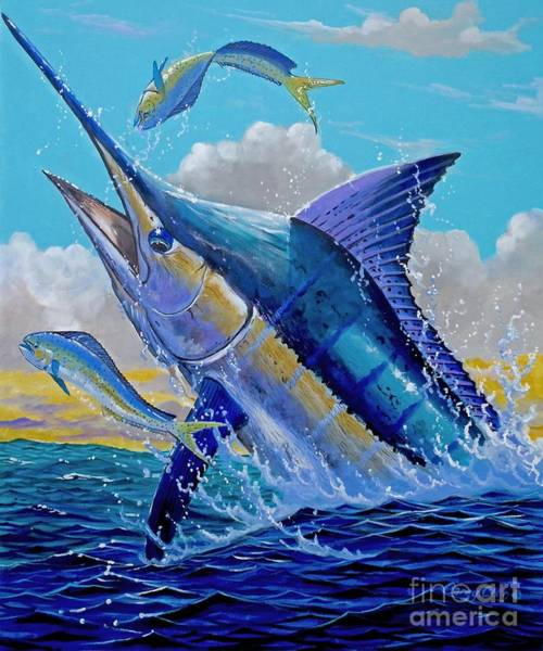 Reel Painting - Carib Blue by Carey Chen