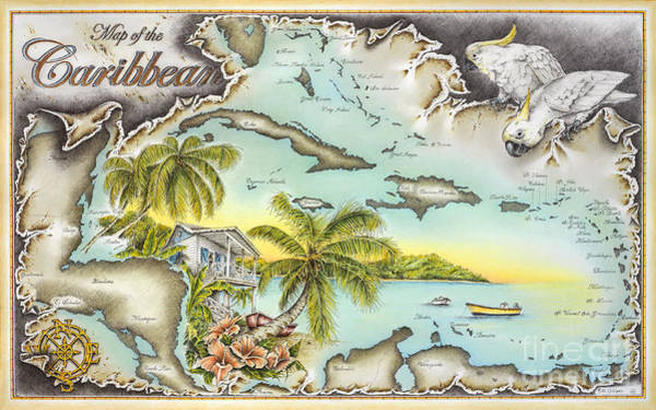 Trinidad Drawing - Caribbean Castaway by Mike Williams