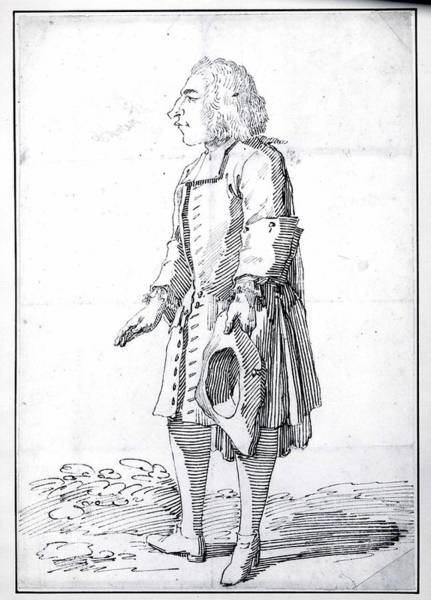 Pier Drawing - Caricature Of A Polish Count by Pier Leone Ghezzi