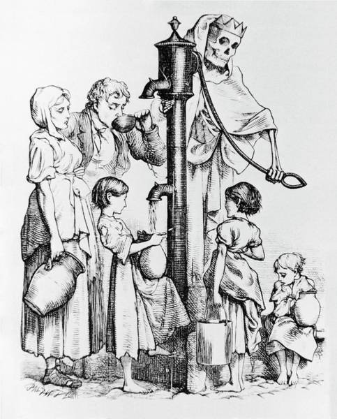 Wall Art - Photograph - Caricature Of People Using A Cholera-infected Well by Science Photo Library