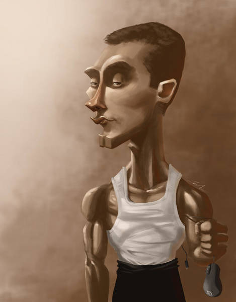 Videogame Painting - Caricature Of Pro Gamer Greg Idra Fields by Andrew Mok