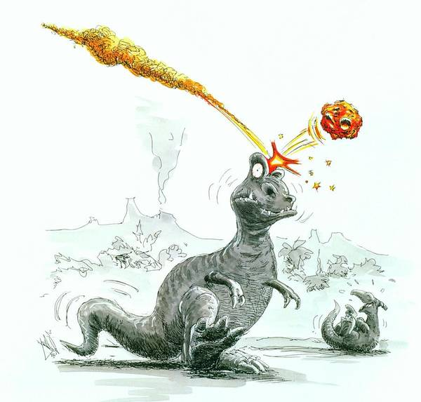 Photograph - Caricature Of The Death Of Dinosaurs By Meteorite by Lutz Langedetlev Van Ravenswaay