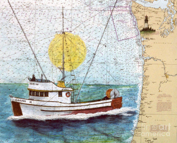 Wall Art - Painting - Carina Trawl Fishing Boat Cathy Peek Nautical Chart Map Art by Cathy Peek