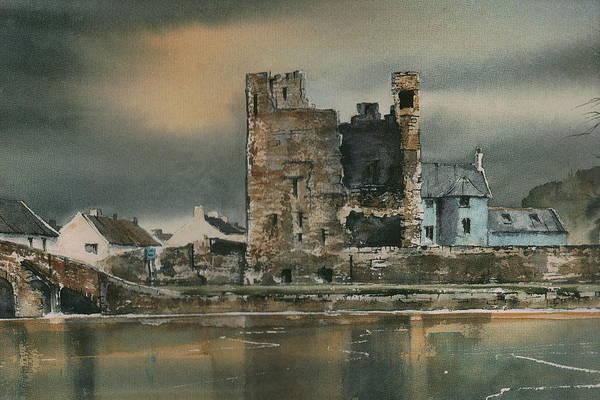 Mixed Media - Carlow Leighlinbridge Black Castle by Roland Byrne