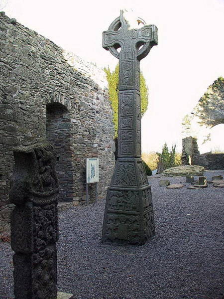 Mixed Media - Carlow Moone High Cross by Val Byrne