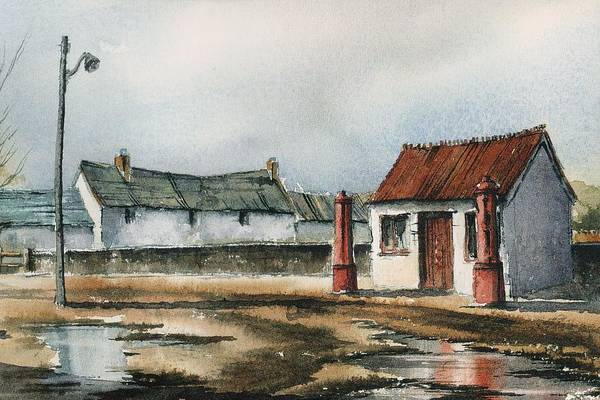 Mixed Media - Carlow Petrol Pumps At The Fighting Cocks by Roland Byrne