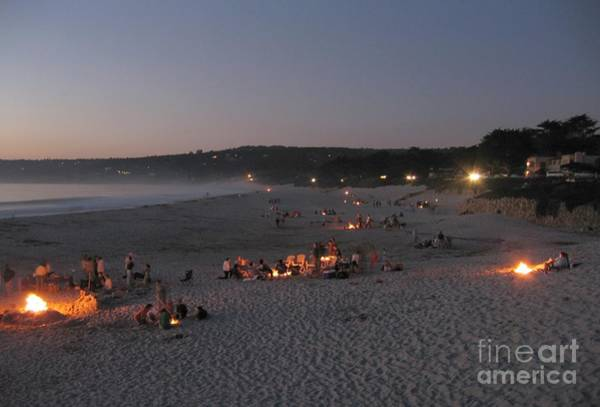 Photograph - Carmel Beach Bonfires by James B Toy