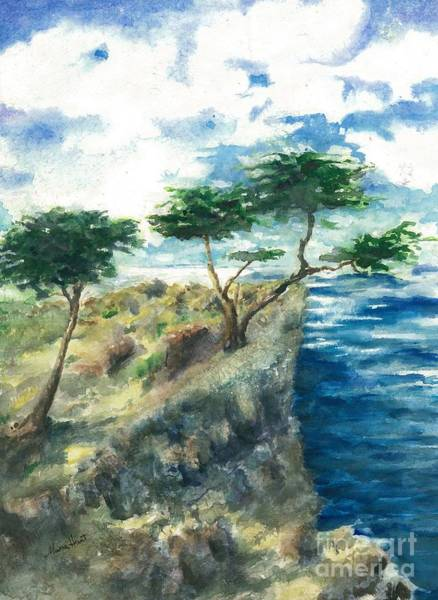 Lone Tree Painting - Carmel By The Sea by Maria Hunt