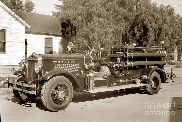 Photograph - Carmel Fire Department Engine No. 2 Circa 1933 by California Views Archives Mr Pat Hathaway Archives