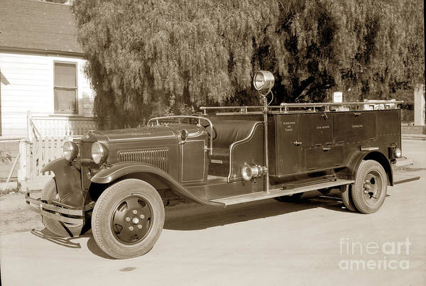 Photograph - Carmel Fire Department Engine No. 3  Circa 1933 by California Views Archives Mr Pat Hathaway Archives