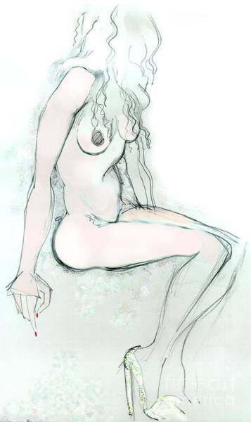 High Heels Drawing - Carmen As Pussy L'amour - Female Nude by Carolyn Weltman